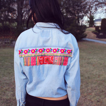 Light Chambray Ethnic Embroidered Denim Shirt.