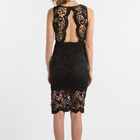 Genevieve Black Crochet Lace Midi Dress