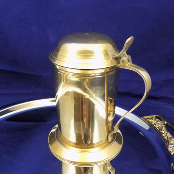 Brass Stein with Lid, Attached Lid, Made in India Brass Beer Stein