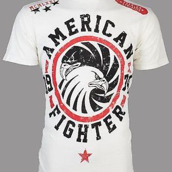 Licensed Official AMERICAN FIGHTER Mens T-Shirt BRADLEY Eagle WHITE Athletic Biker Gym MMA UFC $40