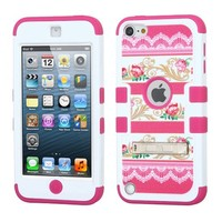 Thousand Eight(TM) iPod touch 5 (5th generation) Heavy Duty Defender Tuff Hybrid Hard Case With Kickstand Case + [FREE Touch Screen Stylus] (Flower-Baroque art/Hot Pink)