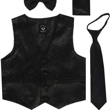 Black Paisley Satin Boys 4-pc Vest Set w. Ties & Pocket Square 3M-14