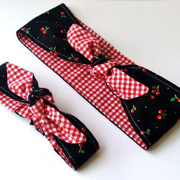 Rockabilly Mommy and Me Matching Black Cherries over Red Gingham Head Scarfs Pinup Women Baby Headband Hair Accessory