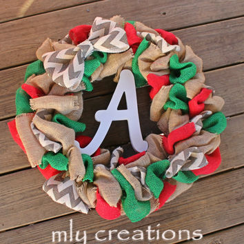 Chevron Burlap Christmas Wreath, Holiday Wreath,Christmas Decor, Front Door Wreath, Rustic Wreath, initial wreath, christmas gift, monogram
