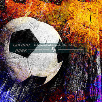 European Football, Soccer Art Print, Futbol, Sports Wall Decor, Bedroom Wall Art, Soccer Room Decor, Photo Print, Colorful Modern Art Decor