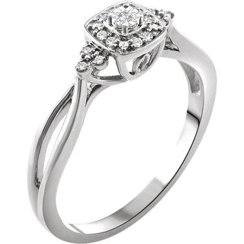 10K White Gold .05 CTW Diamond Halo Promise Ring