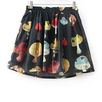 Womens Printed Shorts - Mushroom Head