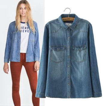 PEAPIX3 Women's Fashion Stylish Rinsed Denim Long Sleeve Denim Shirt Slim Blouse [4918964868]
