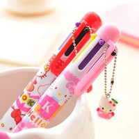 Creative Hello Kitty Cartoon 6 Colors Chunky Ballpoint Pen