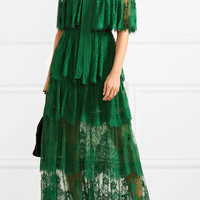 Elie Saab - Tiered Swiss-dot lace gown