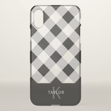 Black & Gray Check - Monogram iPhone X Case