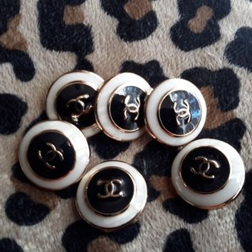 Lot of 6 New CHANEL Replica Buttons CC LOGO