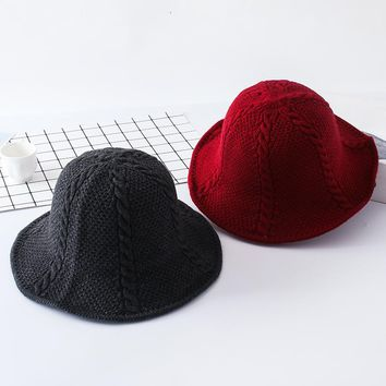 New Autumn Women Twist Pattern Solid Wool Cashmere Bucket Hats Girls Casual Cotton Felt Knitted Bowler Caps Chapeau Femme