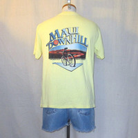 Vintage 80s MAUI DOWNHILL BIKE Graphic Beach Hawaii Outdoors Bicycle Soft Yellow Medium T-Shirt