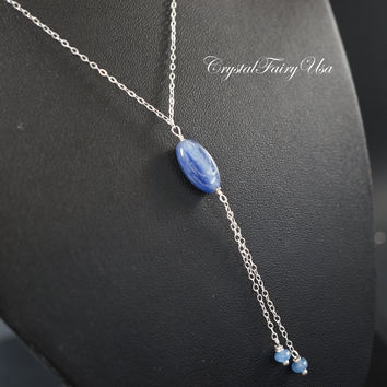 Kyanite Necklace Sterling Silver Kyanite Y Chain Necklace Silver Lariat Necklace Kyanite Jewelry Chakra Healing Blue Stone Yoga Necklace