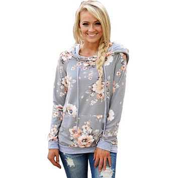 Printed Floral Hoodies Women  Autumn Winter  Casual Gray Hooded Sweatshirt Female Long Sleeve Pullovers