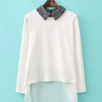 Floral Pointed Flat Collar Long Sleeve Blouse