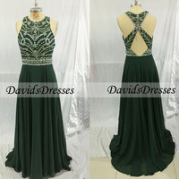 Green Beaded Long Prom Dresses, Formal Dress