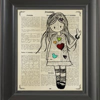 Little Girl -printed on Frienship page. 250Gram paper.
