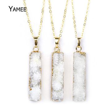 10*46mm Boho Natural Druzy Stone Pendant Necklace Rectangle Quartz Crystal Pendants Charms Necklace Drusy Jewelry