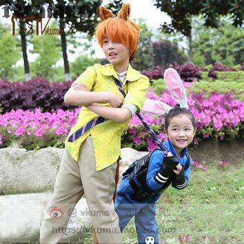 ESBON New Movie children Zootopia Cosplay Officer Judy  and nick Cosplay Costume Outfit Bunny Ears Police Unform For Kids