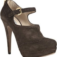 Prada graphite suede top stitched platform pumps | BLUEFLY up to 70% off designer brands