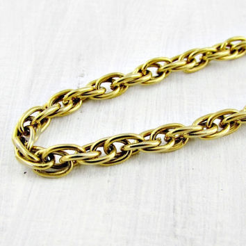 Vintage Mens Gold Chain Necklace, Chunky Twisted Rope Link Chain Necklace, Unique Cool Mens Jewelry, 1970s 1980s Retro Modern Jewelry