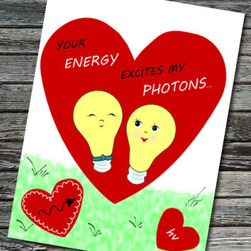 Photon Excitation Nerdy Science Valentine | Student, Teacher, Professor, Scientist, Physicist