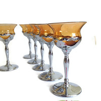 Art Deco Wine Glasses, Chrome and Amber Glass, 1930s, Farber Bros Krome Kraft, Vintage Stemware, Retro Barware