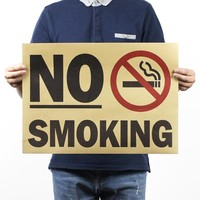 No Smoking Warning Vintage Kraft Paper Movie Poster Home Decor Wall Decals Art Removable Retro Painting