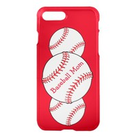 Red White Baseball Mom Sports iPhone 7 Plus Case