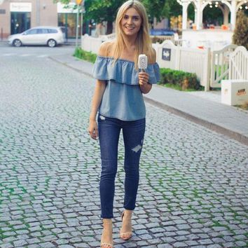 New Women Sexy Summer Off-shoulder Denim Tops Fashion Ladies Ruffles Denim Shirt Loose Party Casual Blue Jeans Blouse