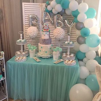 LAttLiv Balloons 56 Pcs Baby Shower Boy Balloons Latex & Foil/Mylar Letters Balloons Baby Boys Birthday Balloons Party Decoration for Baby Shower Birthday Baptism Christening- Silver & Ivory & Turquoise