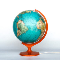 Rare Vintage World Globe Light / 70's Globe Lamp / Desk Globe Lamp / Library Lighting / Germany / Retro orange / Ocean Blue