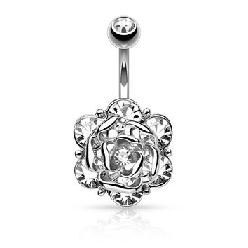 Flower with Gems Belly Ring 14ga Surgical Steel Body Jewelry Navel Ring