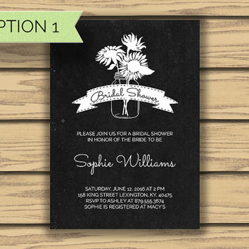 Chalkboard Style Bridal Shower Invitation, 5x7 Inch, Mason Jar Art, Sunflower Art, Vintage Style, Classy, Bride to Be, Bridal, Wedding