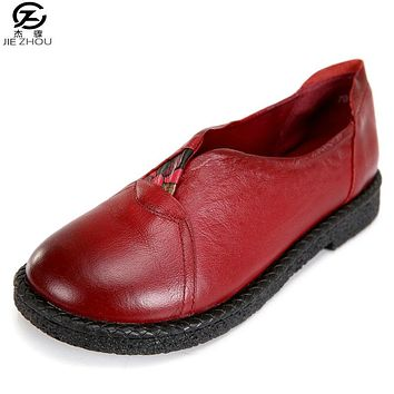 Genuine Leather Women Flats Shoes Female Women Loafers Shoes Soft Bottom Leather Shoes Black Flat Heel Women's Shoes huarche