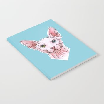 Sphynx cat portrait Notebook by Savousepate