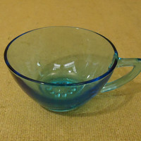 Designer Vintage Decorative Tea Cup 4in Diameter x 2in H Blue Mid Century Modern Glass -- Used