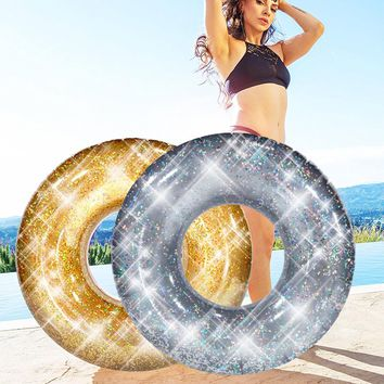 INS Bling Swimming Ring with Colorful Glitters Gold Silver Shinning Women Swimming Tube Circle Lifebuoy Inflatable Wheel Piscina