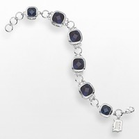 LogoArt Detroit Tigers Legend Silver Tone Navy Glass Logo Charm Bracelet (Grey)