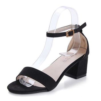 Streetstyle  Casual Simple Suede Black Buckle High Heel Sandals