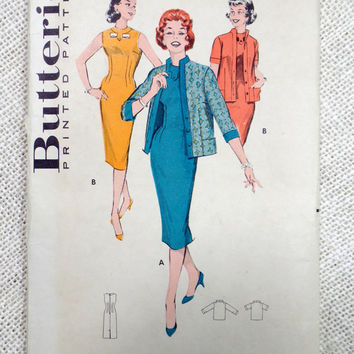 Vintage Pattern Butterick 8637 1950s Ladies dress jacket Bust 32 Audrey Hepburn wiggle cardigan suit