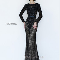 Long Sleeved High Neckline Formal Prom Gown By Sherri Hill 4340