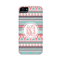 Monogram Iphone 5 case, Monogram Iphone 5c case-Monogram Iphone 5s case-Coral Aztec Monogram Iphone case-monogrammed iphone cases