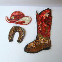 Vintage Western Sequin Appliques (3) Boot , Cowboy Hat , Horseshoe - Sew or Glue on