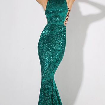 fdc9a9dc3929 Money Maker Emerald Green Sequin Sleeveless Mock Neck Cut Out La