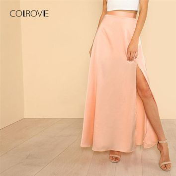 COLROVIE High Slit Front Swing Party Skirt 2018 New Arrival Spring Mid Waist Plain Woman Bottom Zipper Shift Maxi Skirt