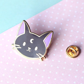 Lunar Black Cat Enamel Pin - Gold Hard Enamel Pin / Lapel / Brooch / Badge - Witch, Wicca, Sailor Moon, Black Cat, Feline, Cute, Luna