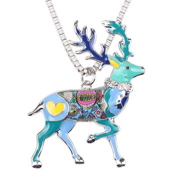 Statement Alloy Animal Deer Stag Elk Choker Necklace Chain Collar Pendant Christmas Fashion New Enamel Jewelry  Women